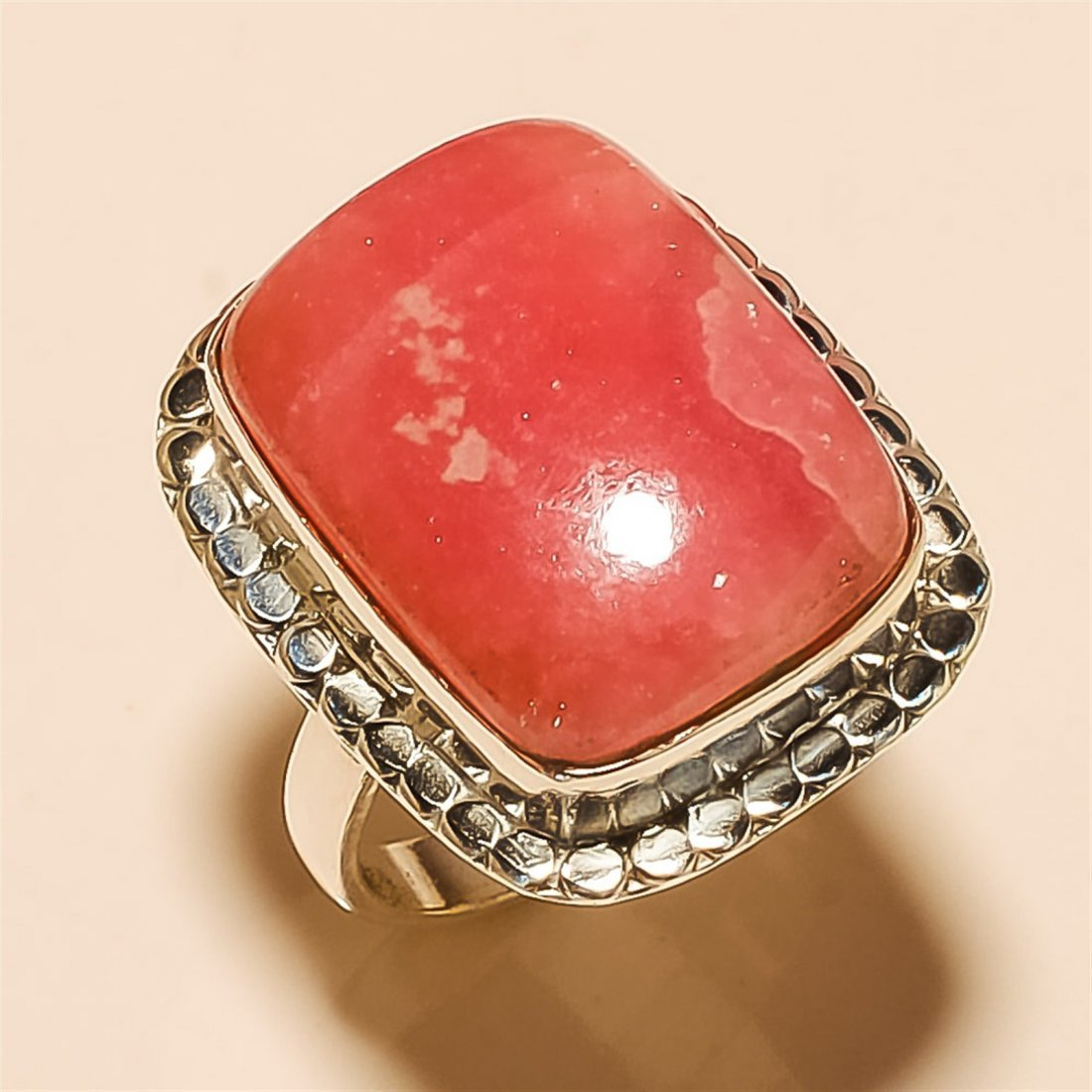 Rhodochrosite RING Solid Sterling Silver