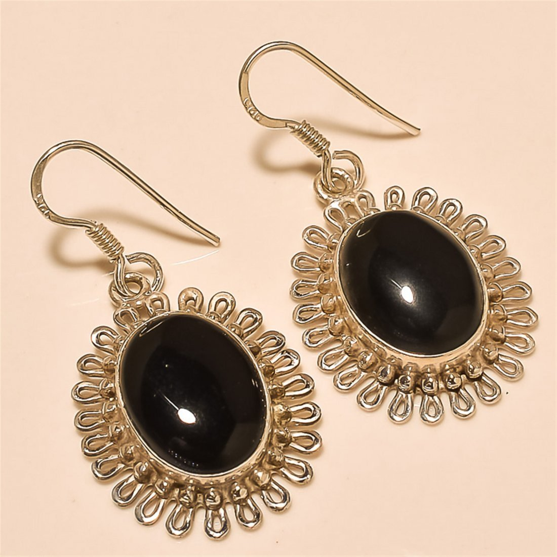 Black Spinel Earring Solid Sterling Silver