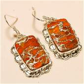 Orange Copper Turquoise Earring Solid Sterling Silver