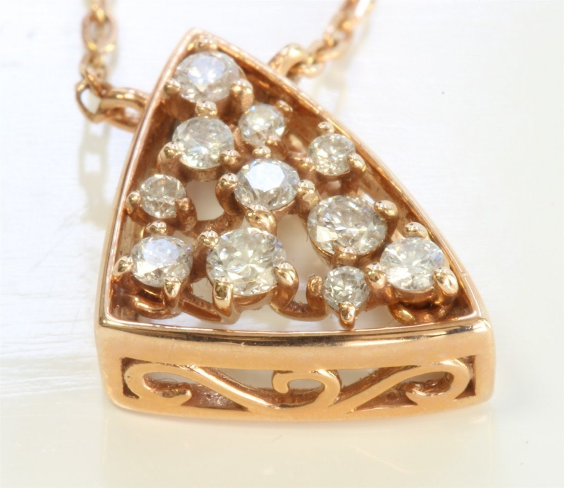14K ROSE GOLD PENDANT WITH CHAIN:2.5g/Diamond:0.2ct