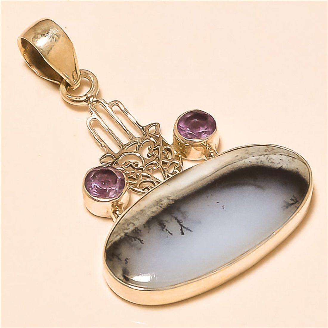 Dendrite Opal/amethyst Pendant Solid Sterling Silver