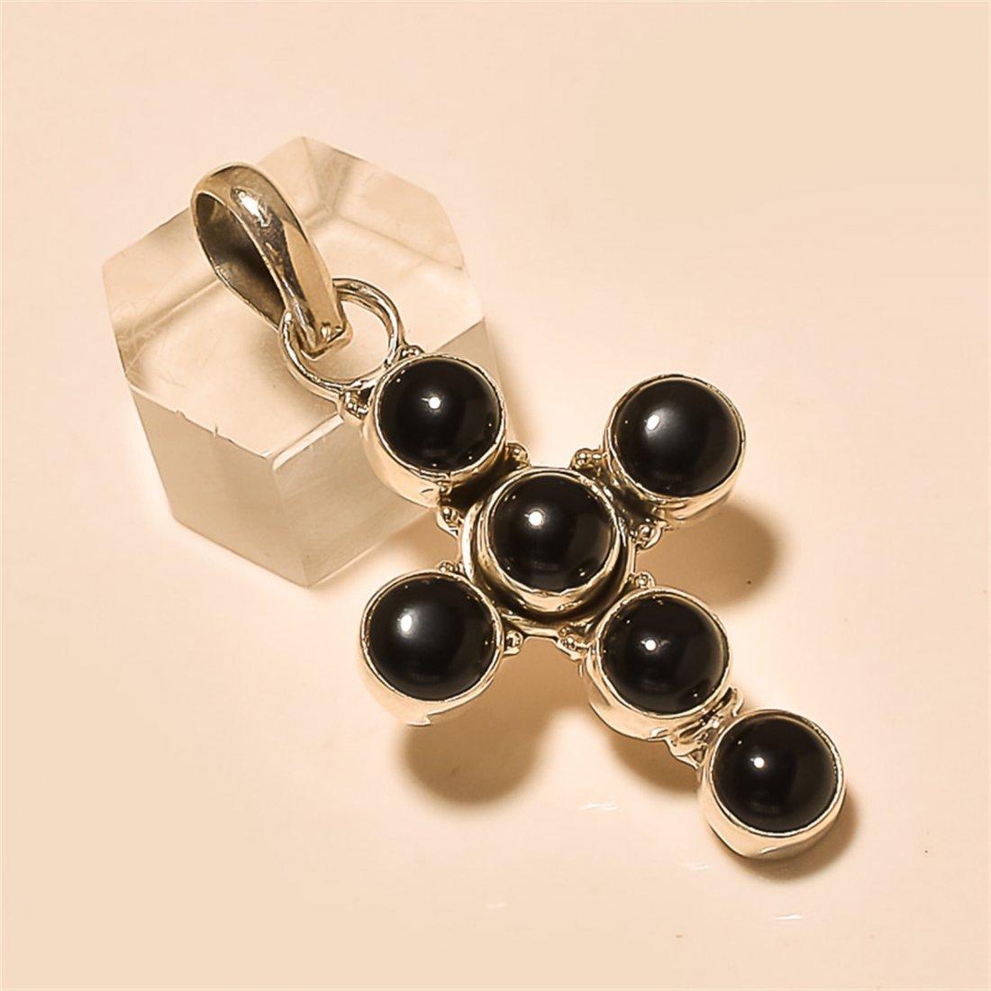 Black Spinel Pendant Solid Sterling Silver