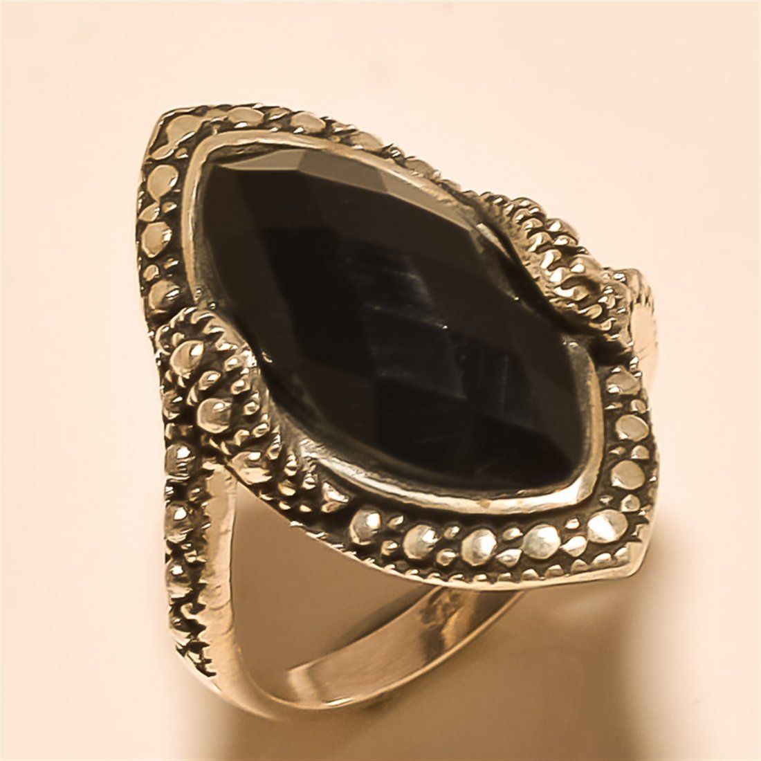 Black Spinel RING Solid Sterling Silver