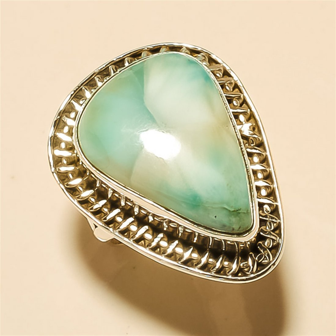 Larimar RING Solid Sterling Silver