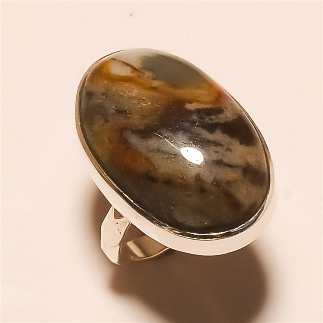 Brown Jasper RING Solid Sterling Silver
