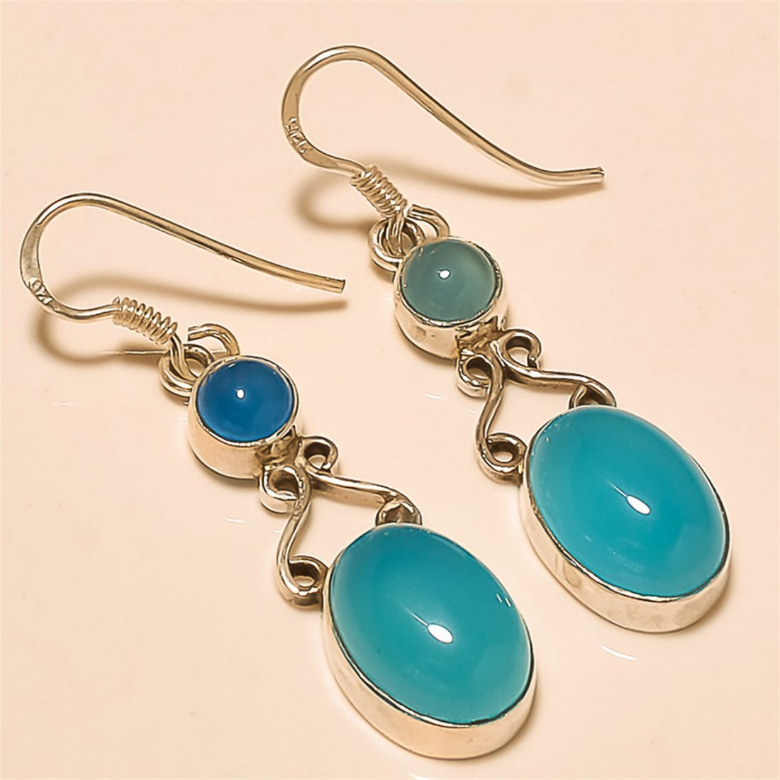 Chalcedony Earring Solid Sterling Silver