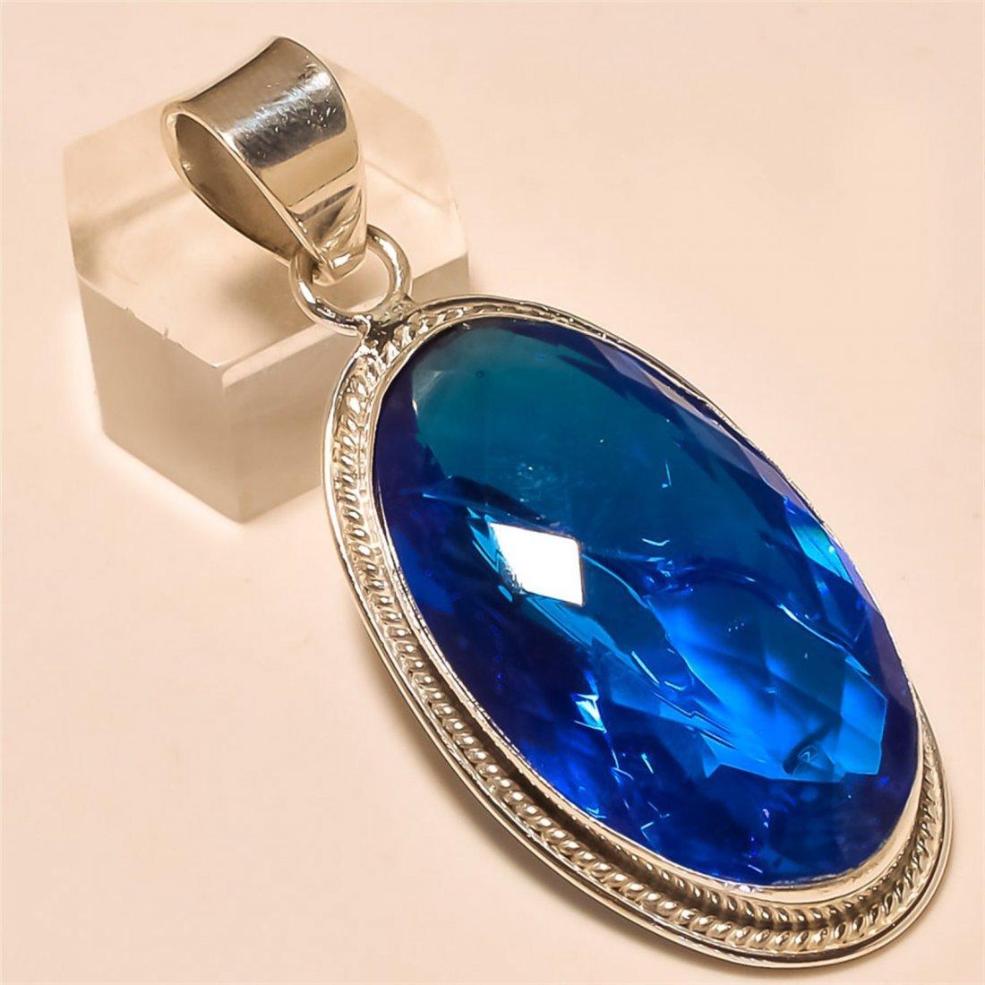 Swiss Blue Topaz Pendant Solid Sterling Silver