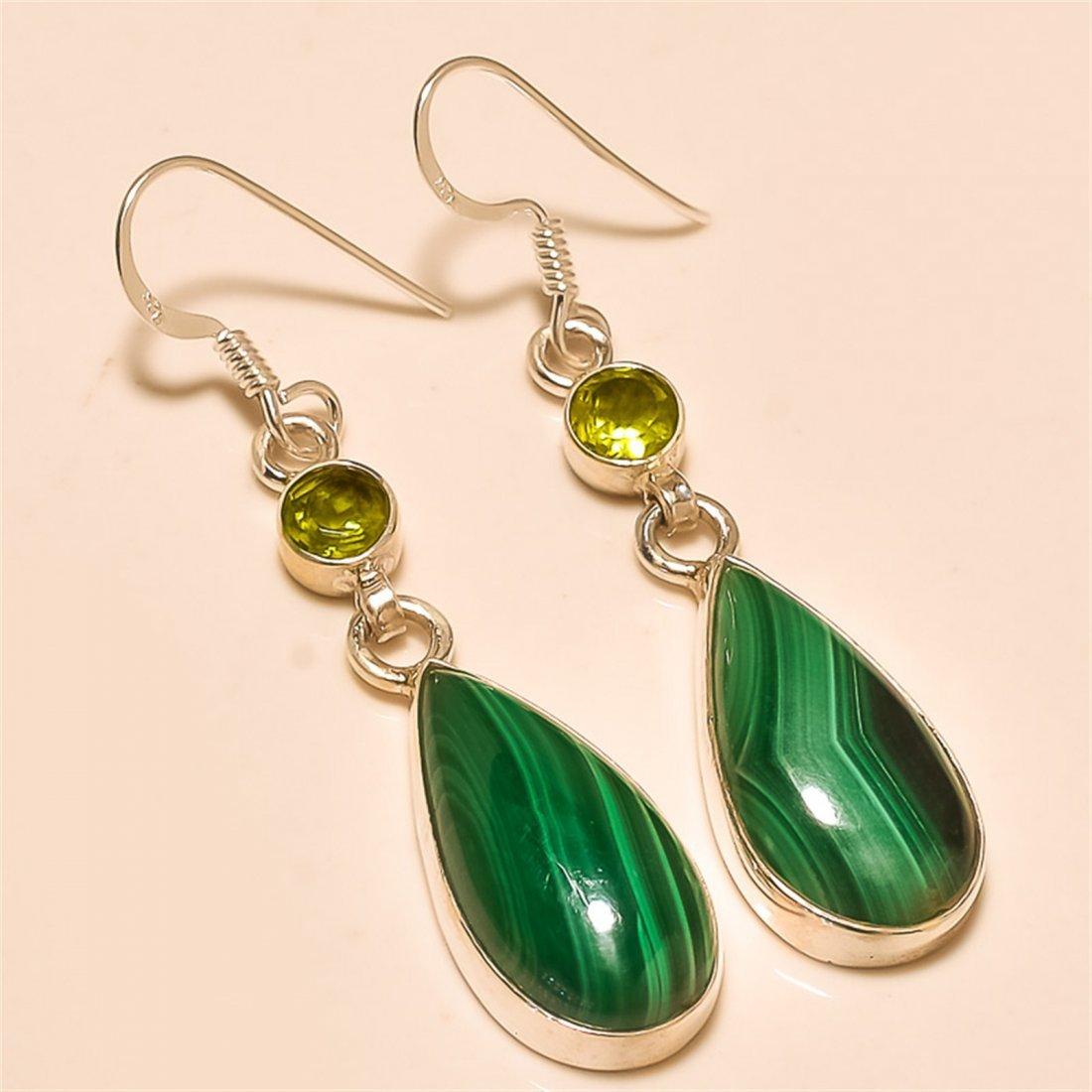 Malachite/peridot Earring Solid Sterling Silver