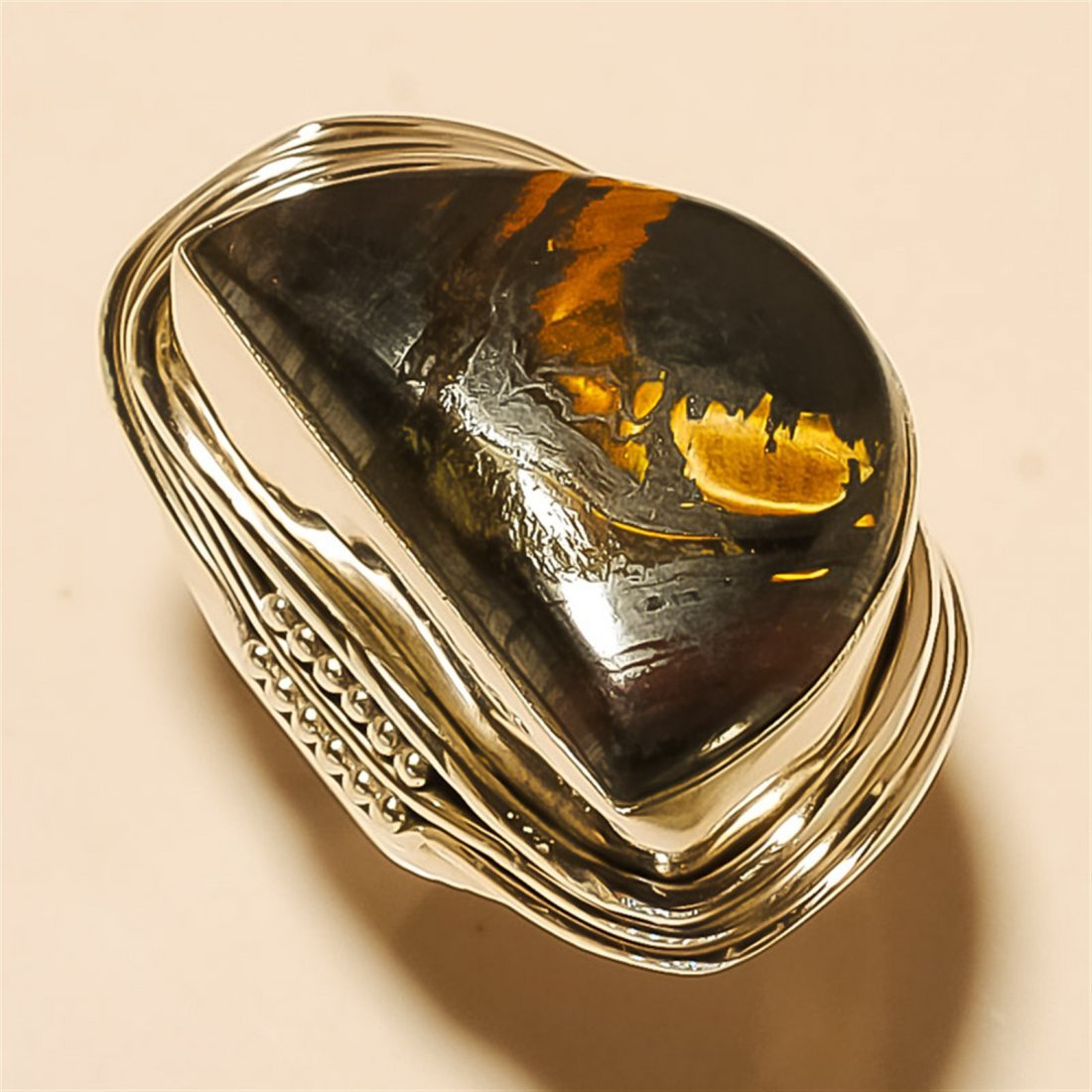 Iron Tiger Eye RING Solid Sterling Silver
