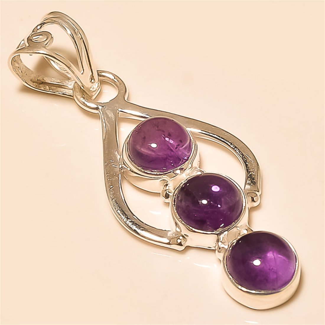 amethyst Pendant Solid Sterling Silver