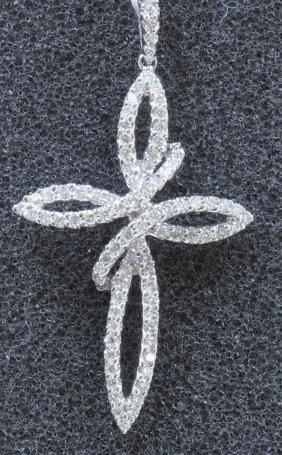18k White Gold Diamond Cross