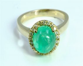 Natural Emerald 2.95ct / Diamond 0.17ct / 14k Yellow