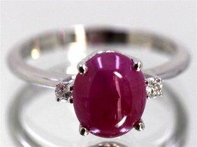Cabochon Ruby 2.91 Ctw Diamond Ring 14kw