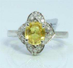 14k White Gold Ring 4 Gram Diamond 0.18ct Yellow
