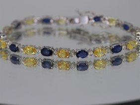 Blue/yellow Sapphire W/ Dia Bracelet