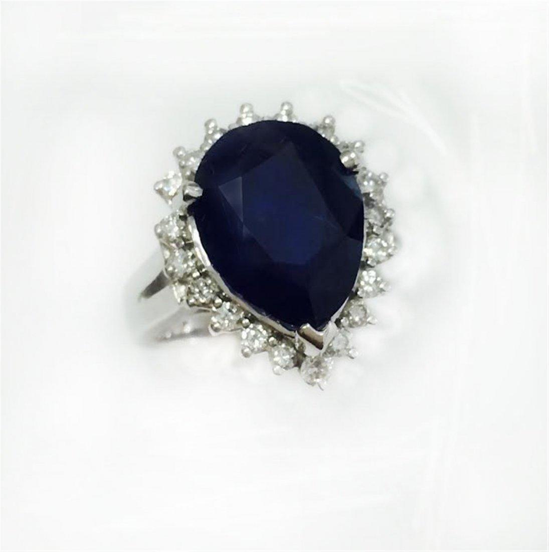 BLUE SAPPHIRE PEAR 7.84CT, GLS 9187  14K W/G RING
