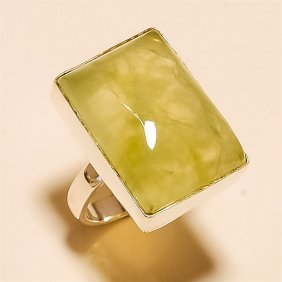 Prehnite Ring Solid Sterling Silver