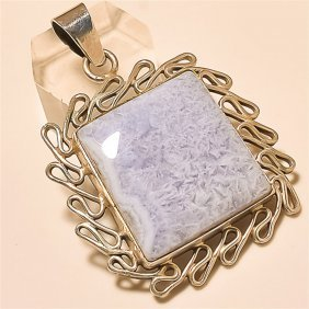 Blue Lace Agate Pendant Solid Sterling Silver