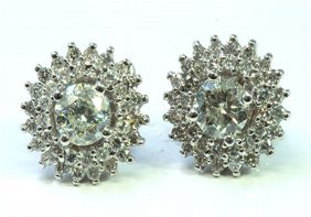 Diamond Round 2.58 Ctw Earring 18kt White Gold 4.65 Gr