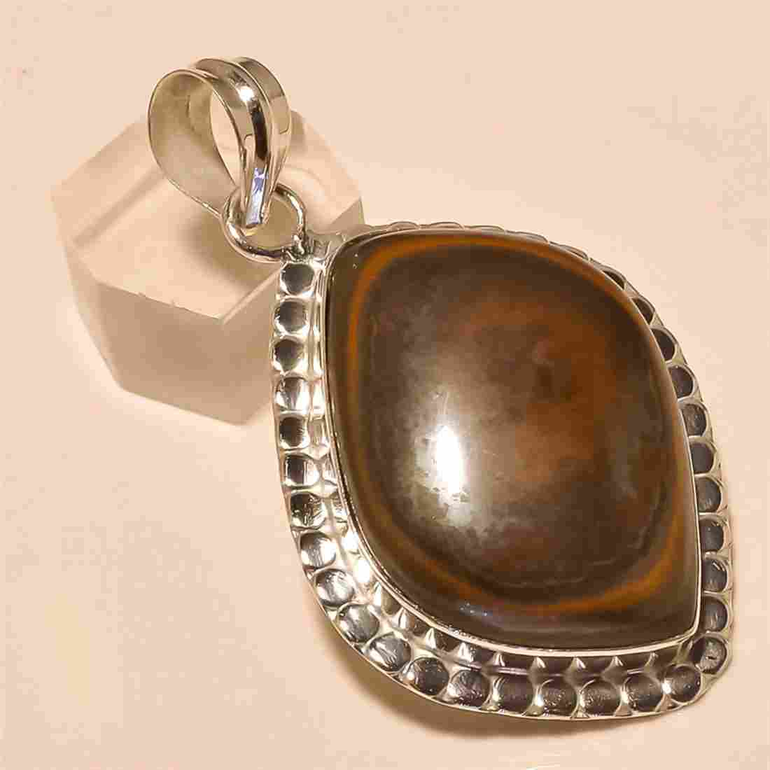 Copper Obsidian Pendant Solid Sterling Silver