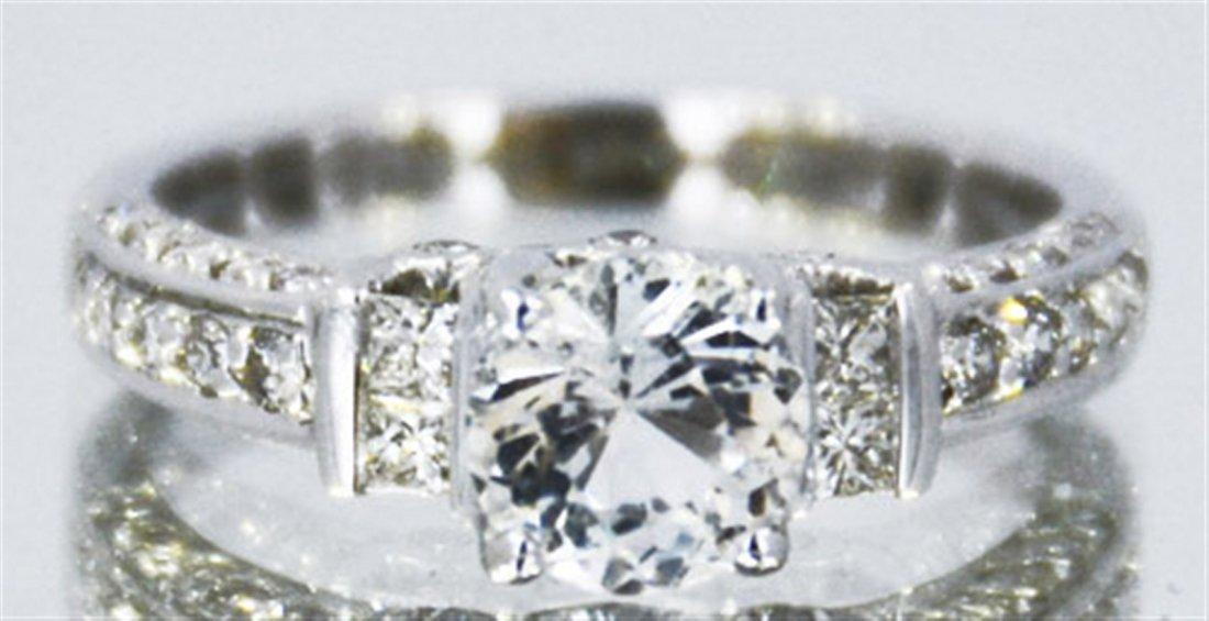 14kt White Sapphire w/ Diamond Ring