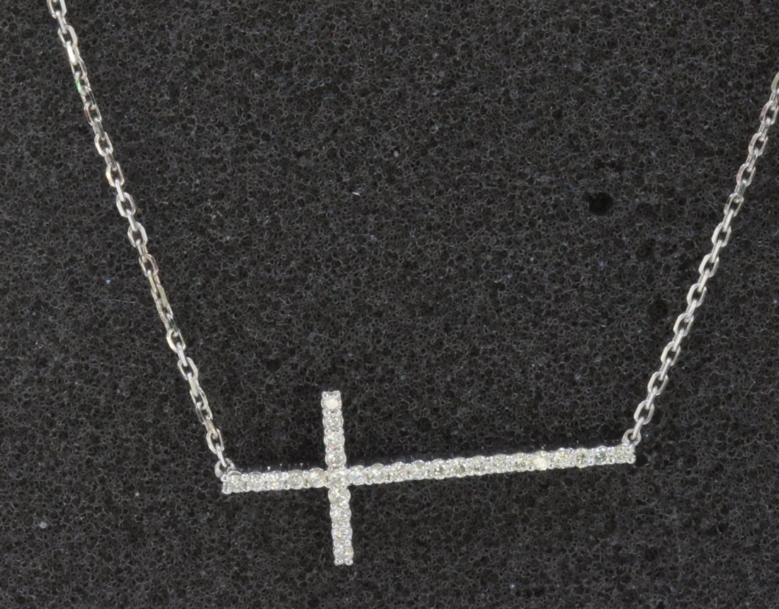 14K WHITE GOLD CROSS PENDANT WITH CHAIN