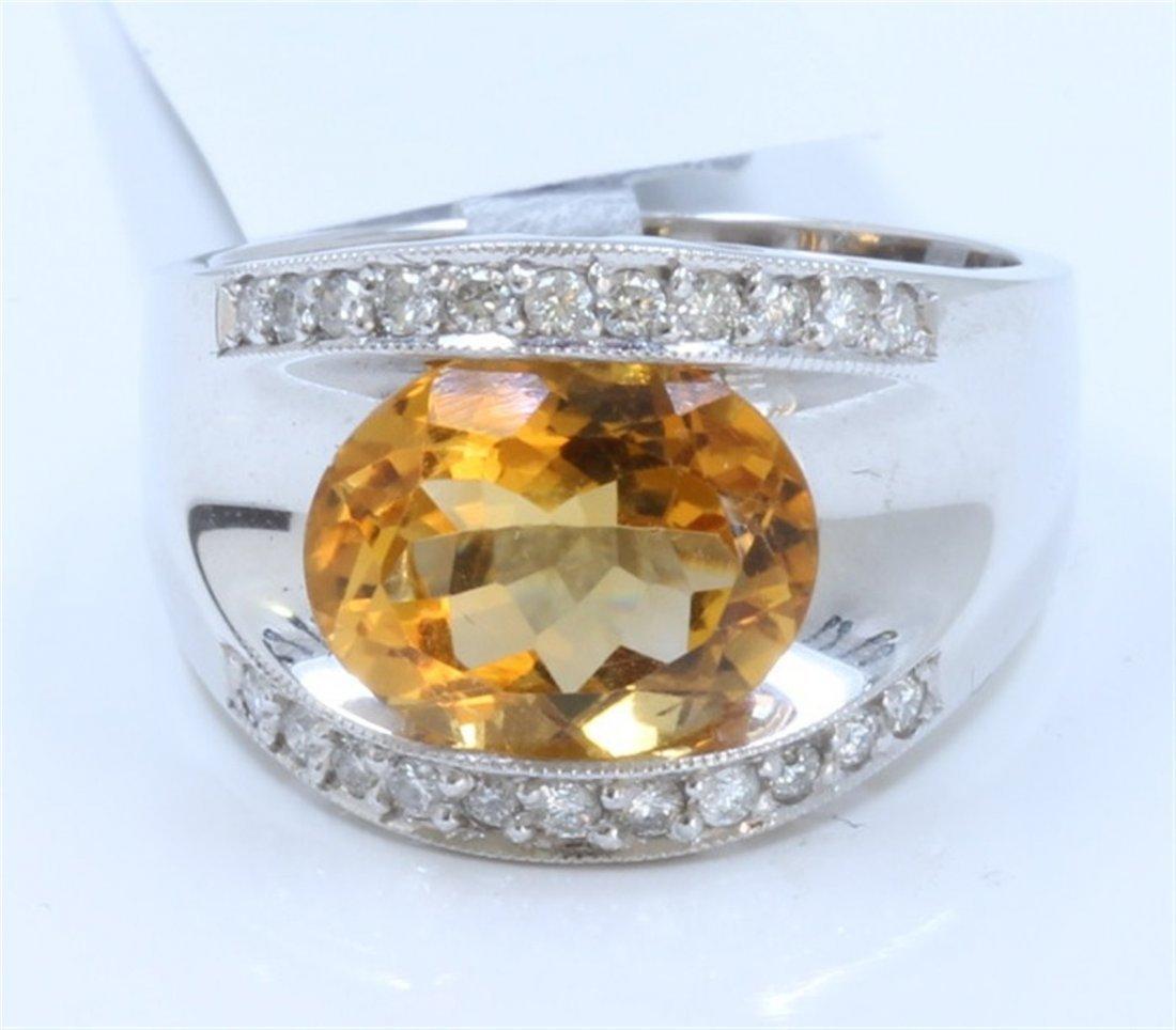 14K WHITE GOLD RING:7.84g/Diamond:0.2ct/Citrine:2.7ct