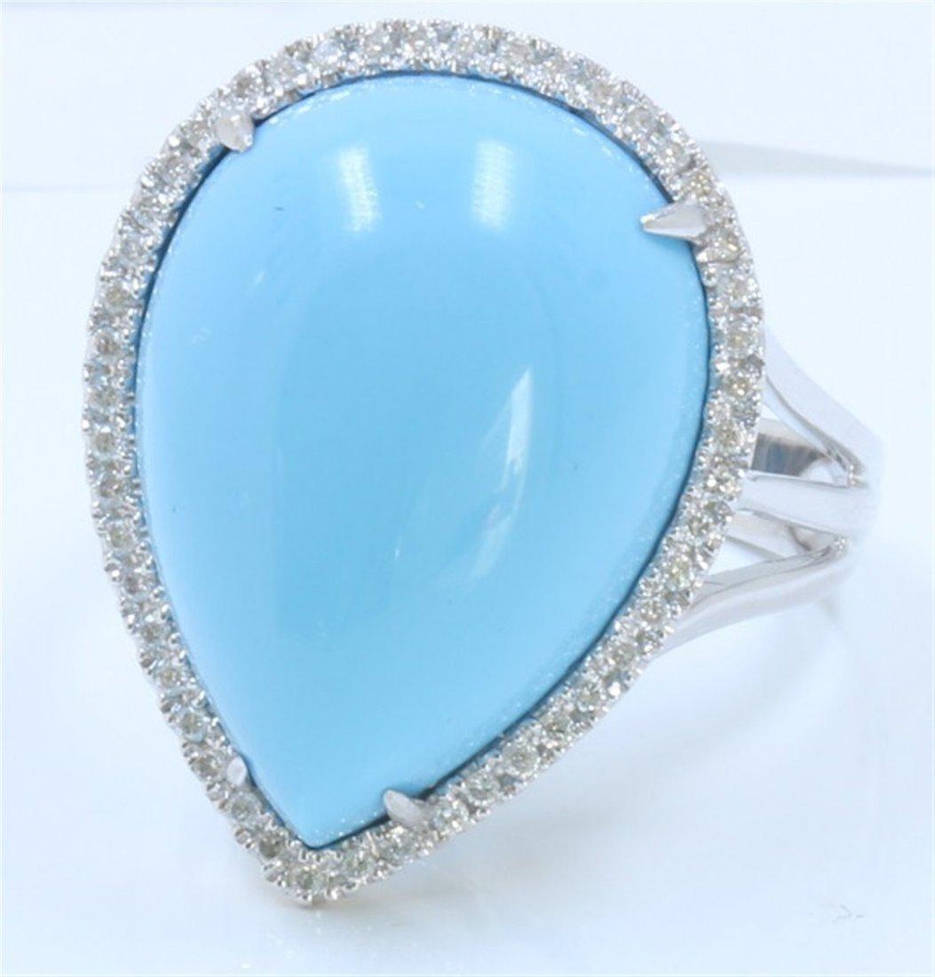 18K WHITE GOLD RING 6.36GRAM /DIAMOND 0.21CT/TURQUOISE