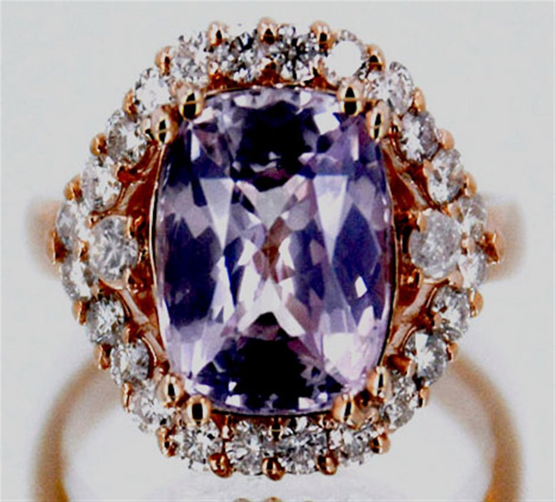 Padparadscha Sapphire  6.66 ctw Diamond Ring 14KRose