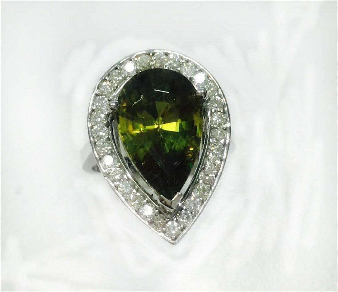 SPHENE 6.20CT, 14K WHITE GOLD RING 5.67GRAM / DIAMOND