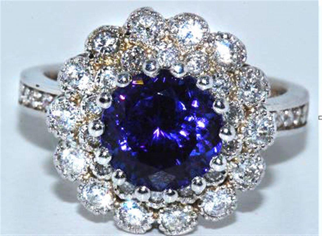 Tanzanite  4.31 ctw & Diamond Ring 18KW