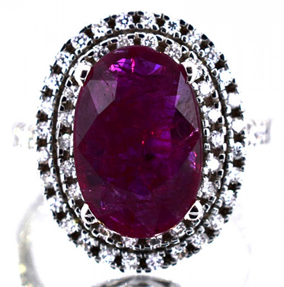 Natural Ruby 4.59 ctw Diamond Ring 14KW