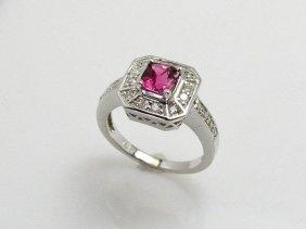 Pink Sapphire 1.04 Ctw Diamond Ring 14kw