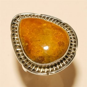 Fossil Coral Ring Solid Sterling Silver