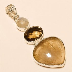 Golden Rutile /smokey Quartz Pendant Solid Sterling