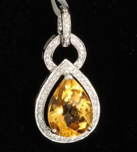 18k White Gold Citrine