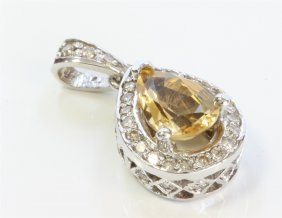 14k White Gold Pendant:2.8g/diamond:0.35ct/citrine