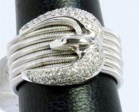 14k White Gold Ring 11.20gram Diamond 0.38ct