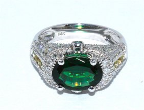 Chrome Tourmaline 2.0 Ctw & Diamond Ring 14kw