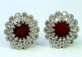Natural Burma Ruby 3.41 Ct & Diamond 0.84 Ct Earring