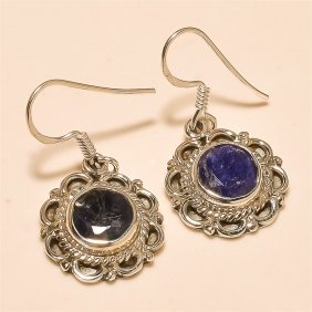 Blue Sapphire Earring Solid Sterling Silver