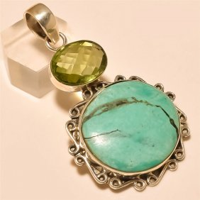 Turquoise/amethyst Quartz Pendant Solid Sterling Silver