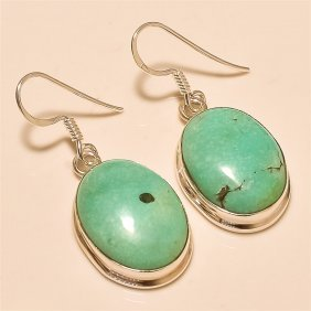 Tibetan Turquoise Earring Solid Sterling Silver