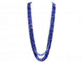 Tanzanite Beaded Necklace Rope 290.00ct Or Over