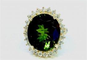 Natural Green Tourmaline 14.97ct Diamond 1.41ct