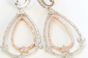 14k White And Rose Gold Earring9.74gram /diamond 3.60ct