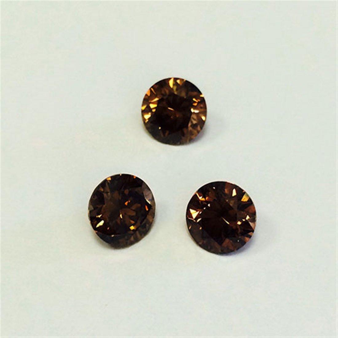 6 ct & up Fancy Dark Brown Round Brilliant  SI Good Cut