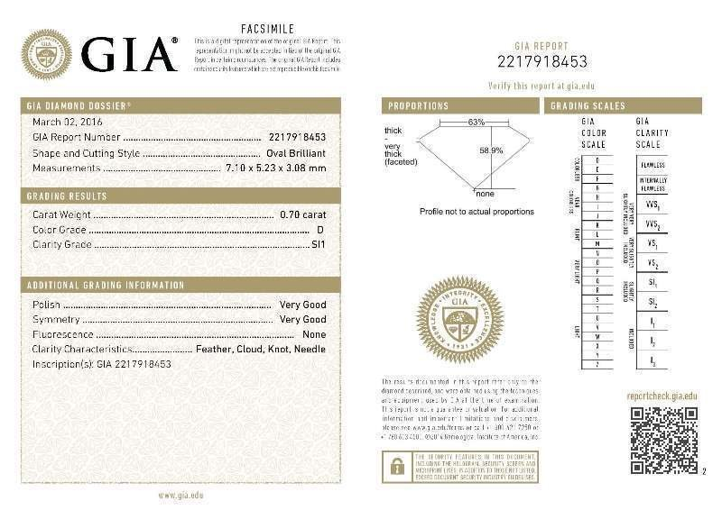 GIA/Oval/D/SI1/0.7Ct