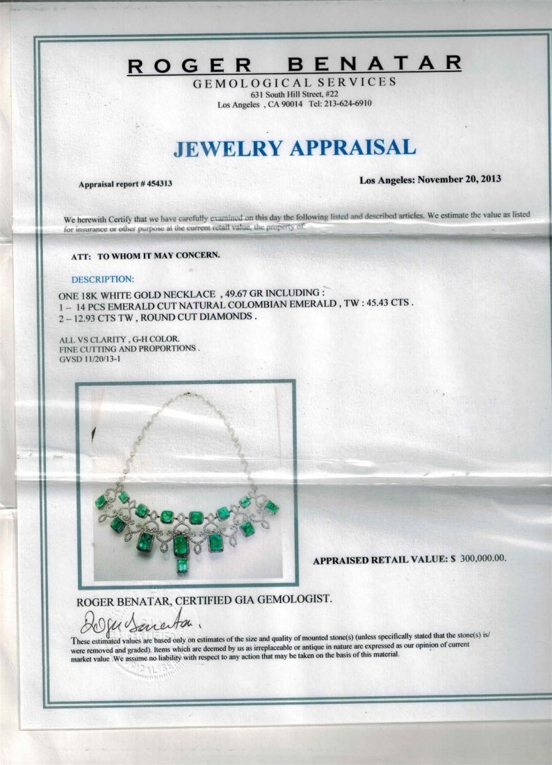 18K WHITE GOLD EMERALD NECKLACE - 4