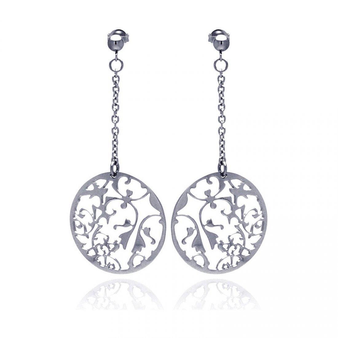 Stainless Steel Flower Design Disc Hanging Stud Earring